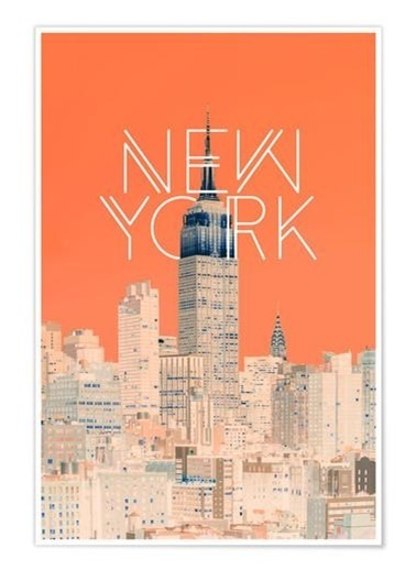 Chic Life Chic Life Newyork Kanvas Tablo-50*70 cm Renkli
